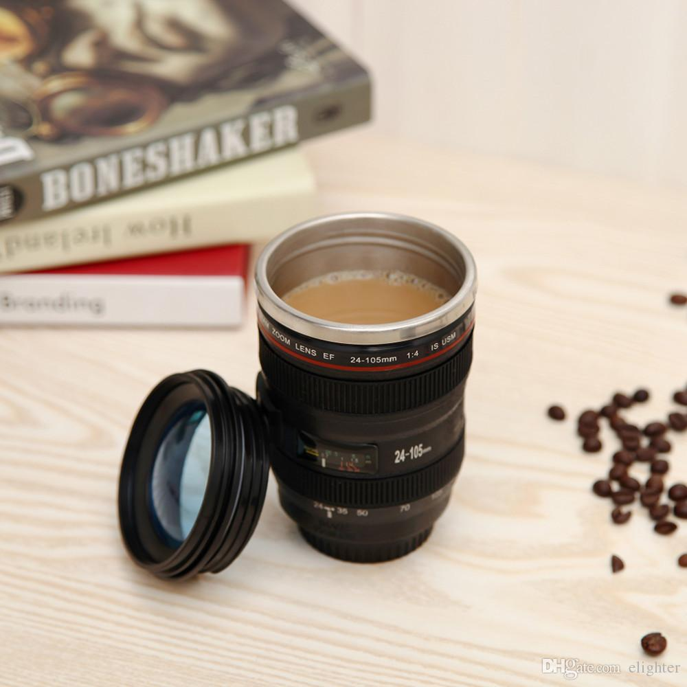 Coffee cup 420ml Stainless steel liner Camera Lens Mugs Coffee Tea Cup Gifts Thermocup Vacuum Thermomug