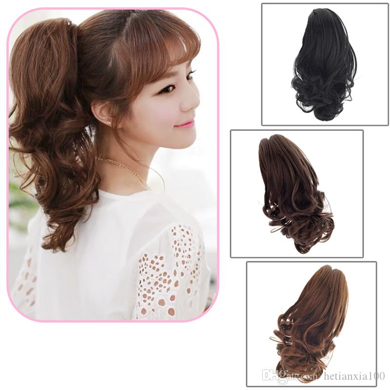 Claw Pony Tail Ponytail Clip In On Hair Extension Curly Style