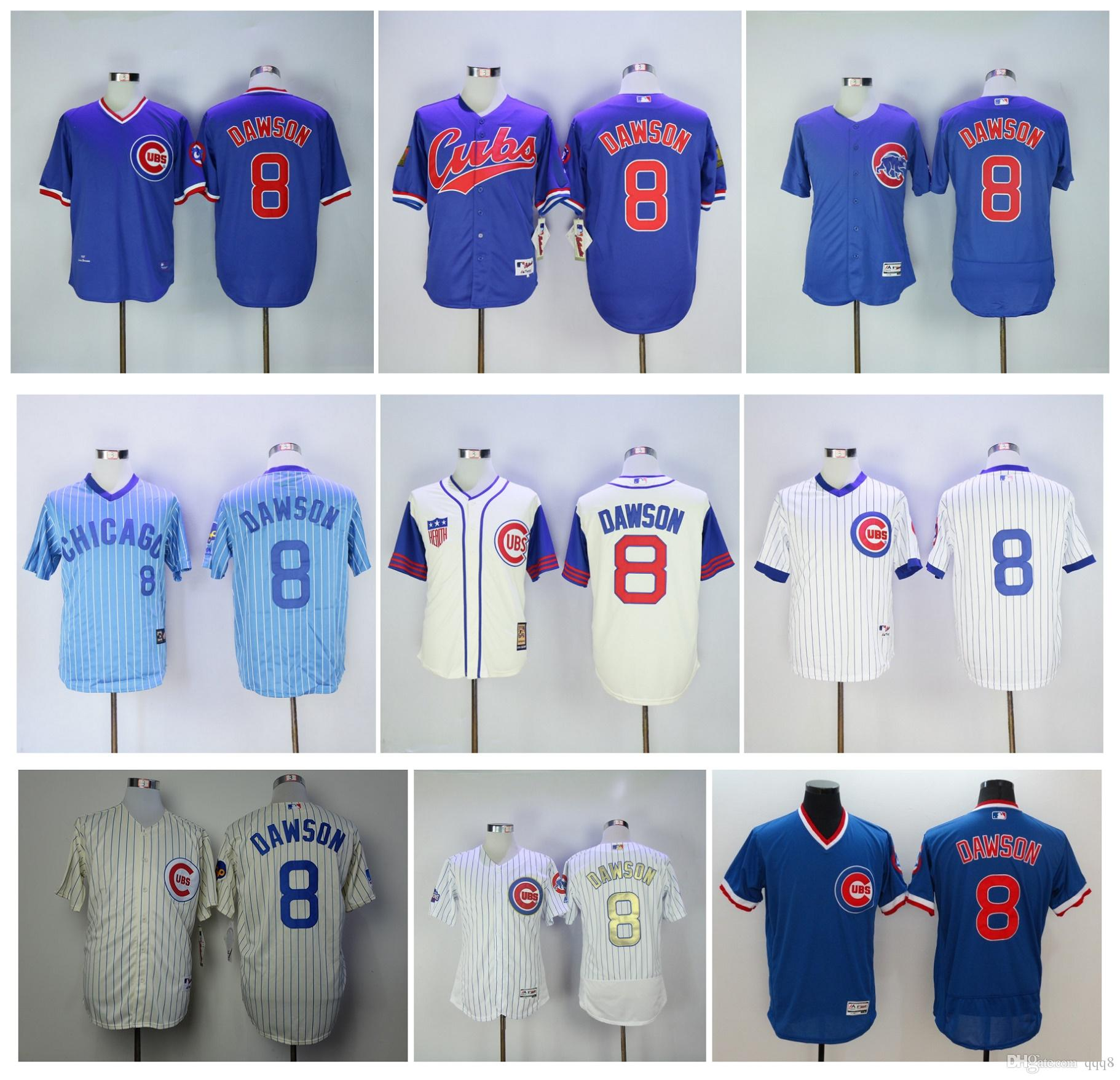 680b022b ... 2017 Throwback Chicago Cubs Jerseys 8 Andre Dawson Jersey Cream Blue  White 1942 Retro Cooperstow Shirt ...