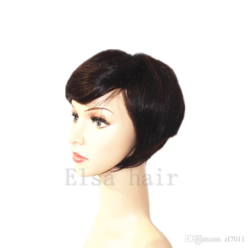 Short Human Hair Wigs For Black Women BOB hairstyles Brazilian Virgin Hair Natural Weaves Capless Wigs Black Color