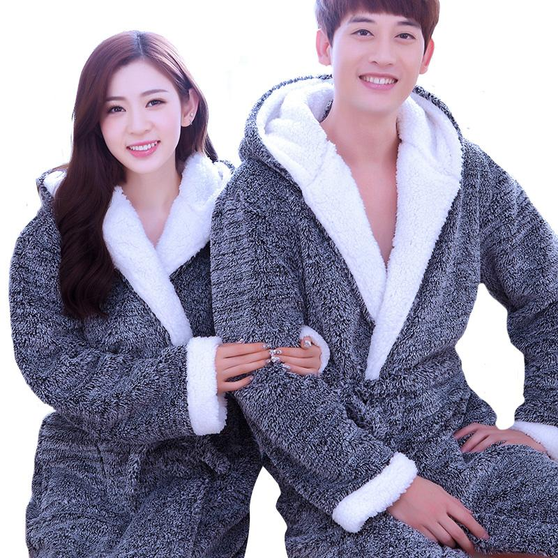 010b045d09 2019 Wholesale New Flannel Couples Bathrobes Women S Robes Winter Dressing  Gowns Women Male Female Sleepwear Kimono Robe Casual Home Clothes From  Michalle