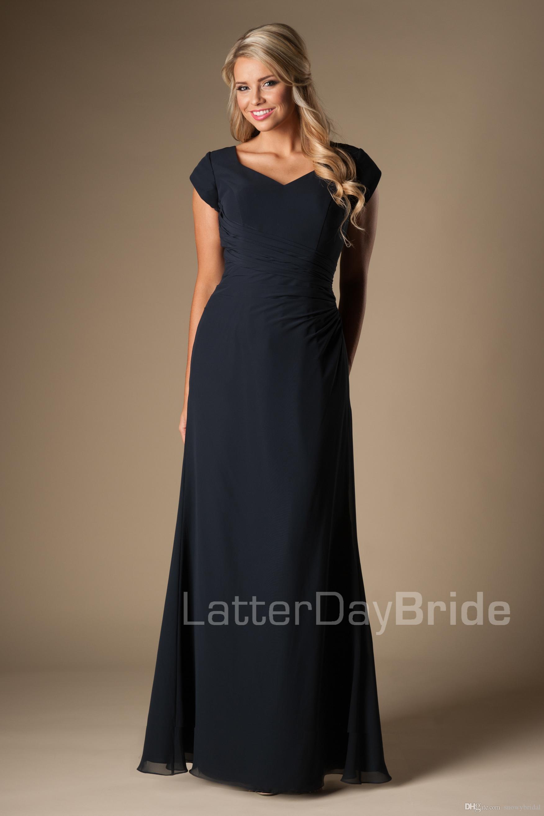Dark Navy Blue Chiffon Modest Bridesmaid Dresses Short Sleeves Long ...