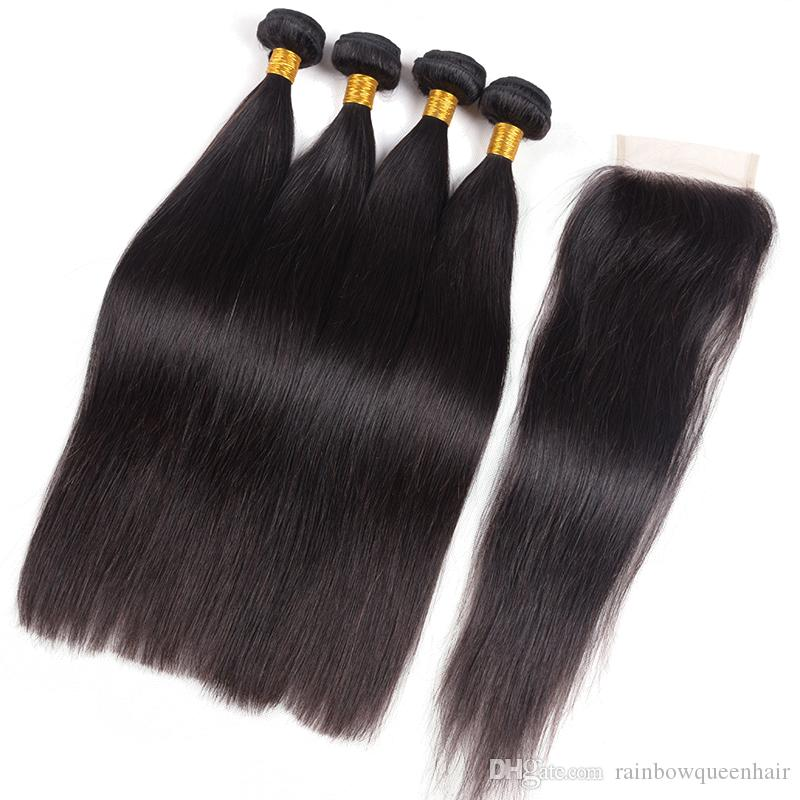 Brazilian Straight Virgin Hair Weaves With Closure Unprocessed Brazilian Human Hair 3 Bundles With Lace Closures Free/Middle/3 Part
