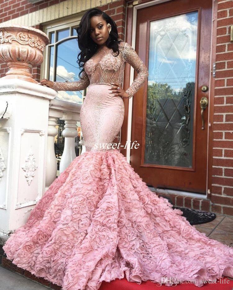 Gorgeous 2k17 Pink Long Sleeve Prom Dresses Sexy See Through Long