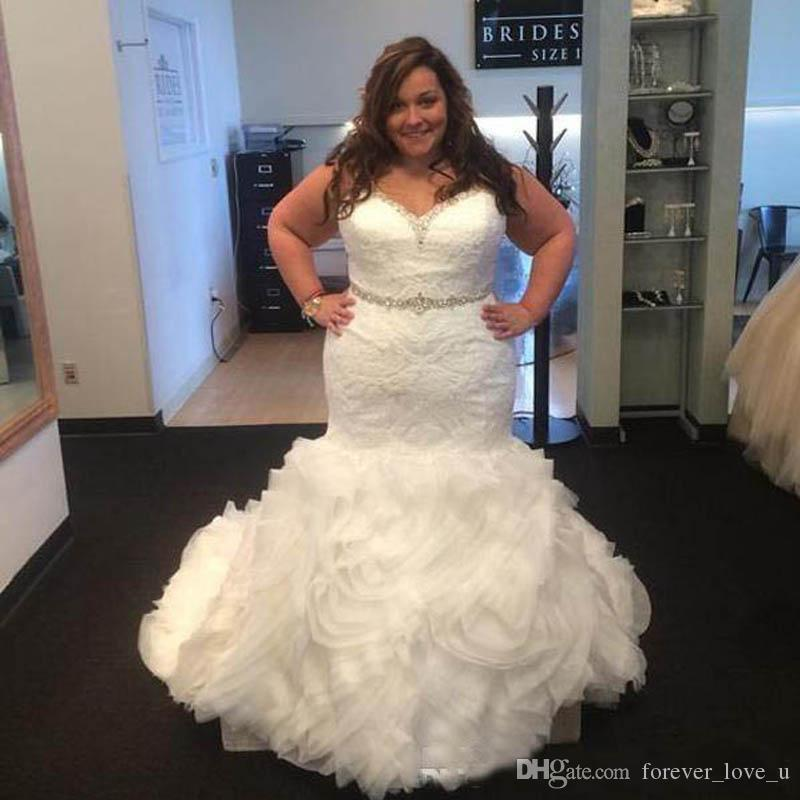 Plus Size Mermaid Wedding Dresses Fit And Flare Trumpet Lace Appliques Beaded Crystals Belt Ruffles Skirt Up Back Bridal Gowns Western