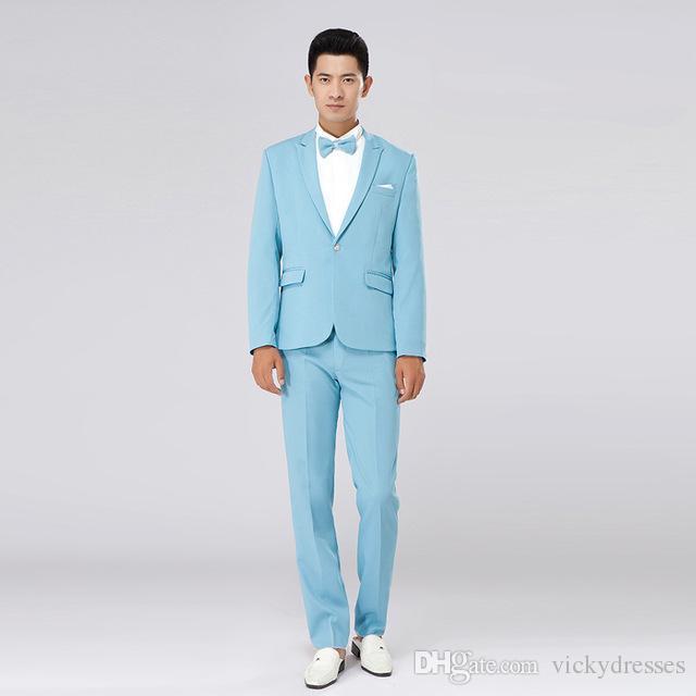 Jacket+Pants Men\'S Light Blue Two Piece Suits Stage Show Performance ...