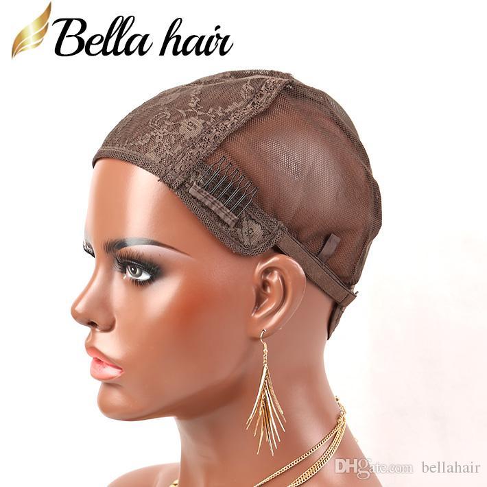 Черные / коричневые / темно-коричневые / желтые двойные кружевные парики для изготовления париков сетки волос с регулируемыми ремнями и гребными крышками парики швейцарские кружева Bellahair