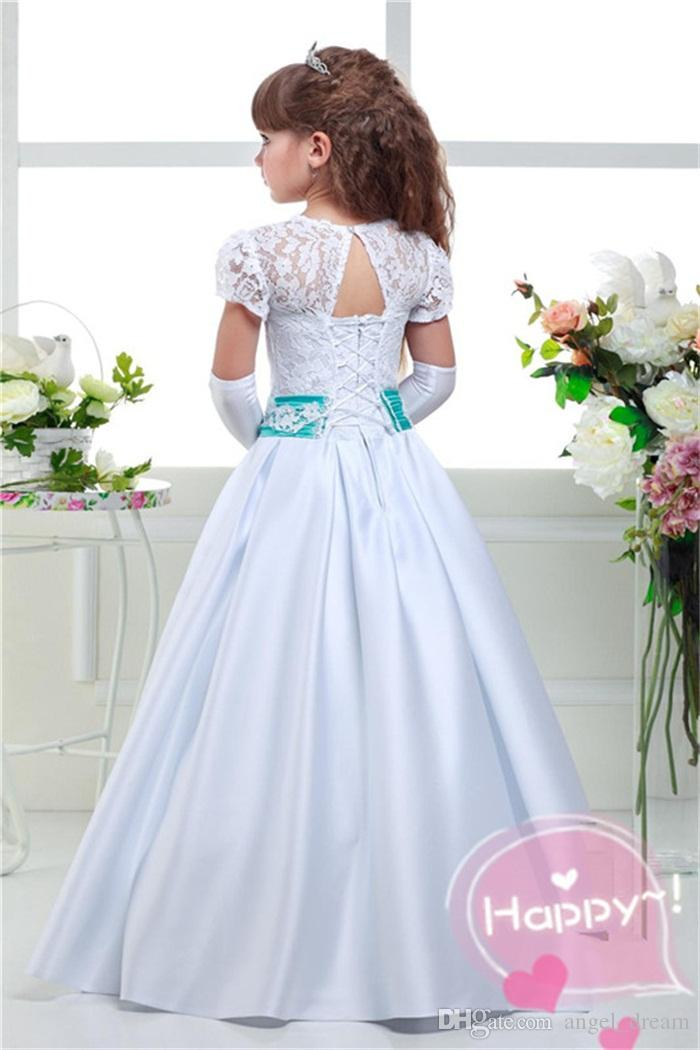 Princess Flower Girl Dresses for Wedding Satin Lace Little Girls Kids/Child Dress 2017 New A-Line Party Birthday Pageant Communion Dress