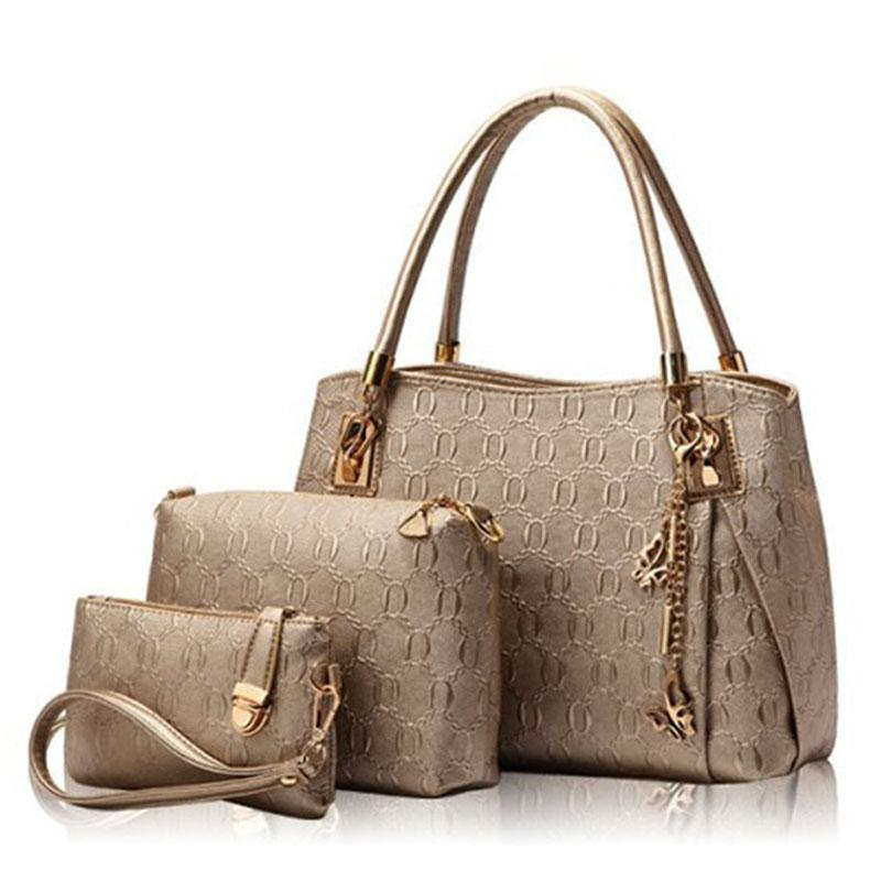 7d49ced7610 Wholesale- New 2016 Women Handbags Leather Handbag Women Casual Travel Bags  Ladies Brand Designs Bag Handbag Messenger Bag Purse 3 Sets