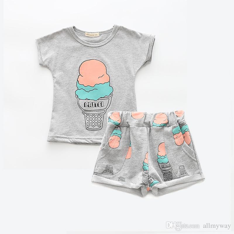 2019 Allmyway Grils Fashion Ice Cream Clothing Sets Brand Girls