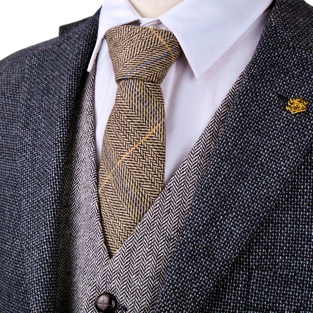 4dca76bc865d New H40 Checked Herringbone Tweed Brown Camel Wool Mens Ties ...