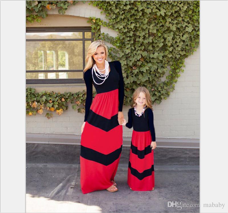 Sommer mutter tochter kleider mädchen schlank ärmellose lange kleider familie passenden outfits kinder baby mädchen sommerkleid strandurlaub