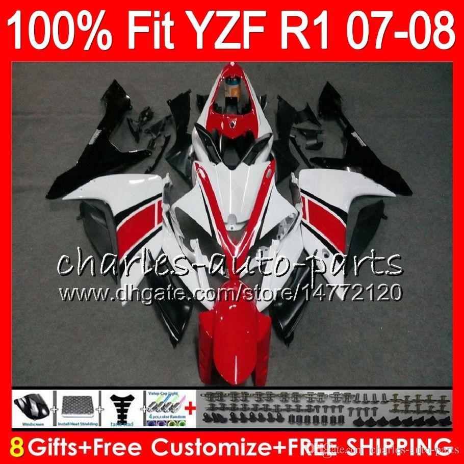 8Gifts Injection for Yamaha YZF1000 YZFR1 07 08 YZF 1000 37HM5 Vit Svart YZF-R1 07-08 YZF-1000 YZF R 1 YZF R1 2007 2008 FAIRING