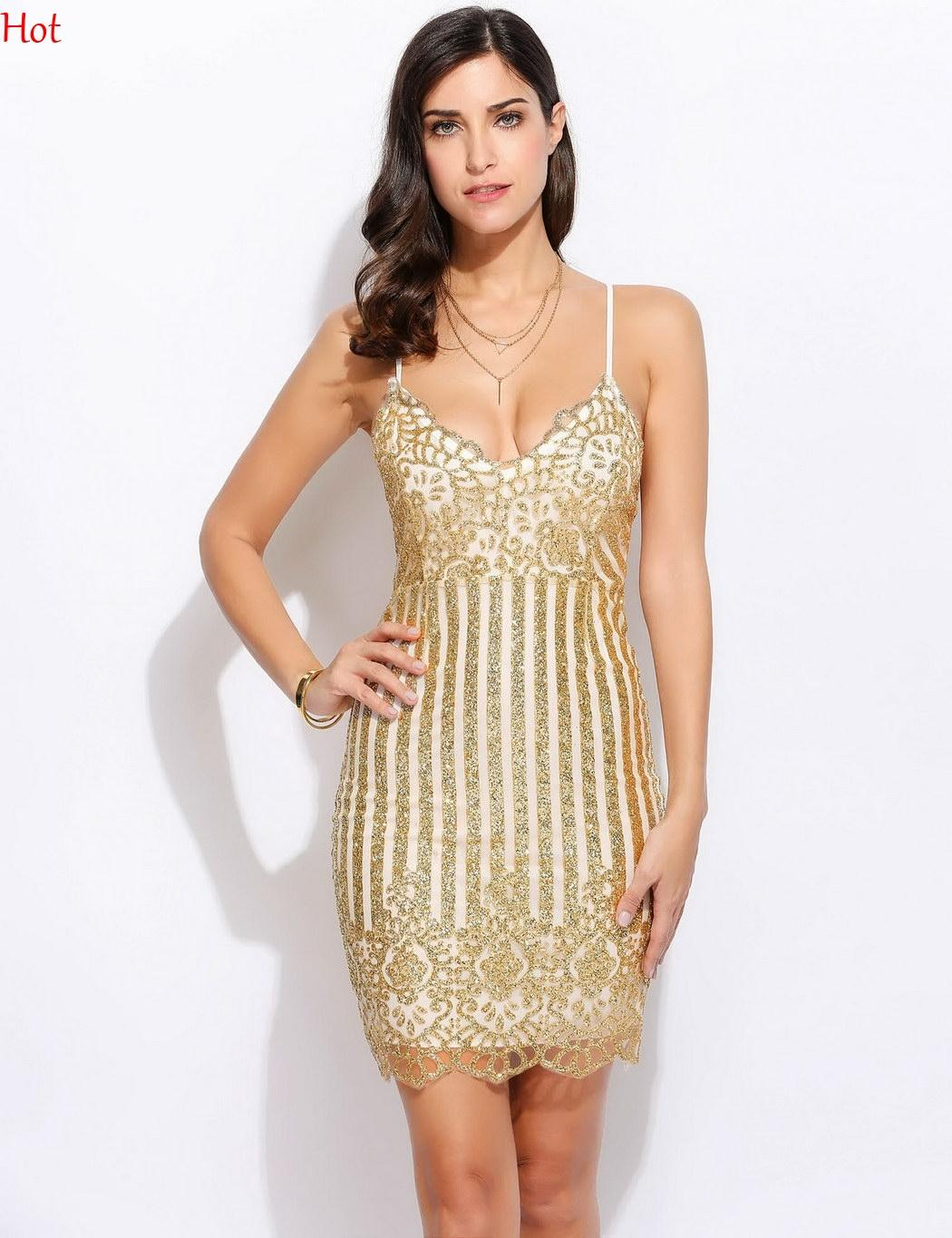 d10a084b 2019 Gold Sexy Spaghetti Strap Dresses Women Sequins V Neck Backless  Bodycon Dress Ladies Clothing Party Club Pencil Mini Dress Sale SVH032482  From U_king, ...