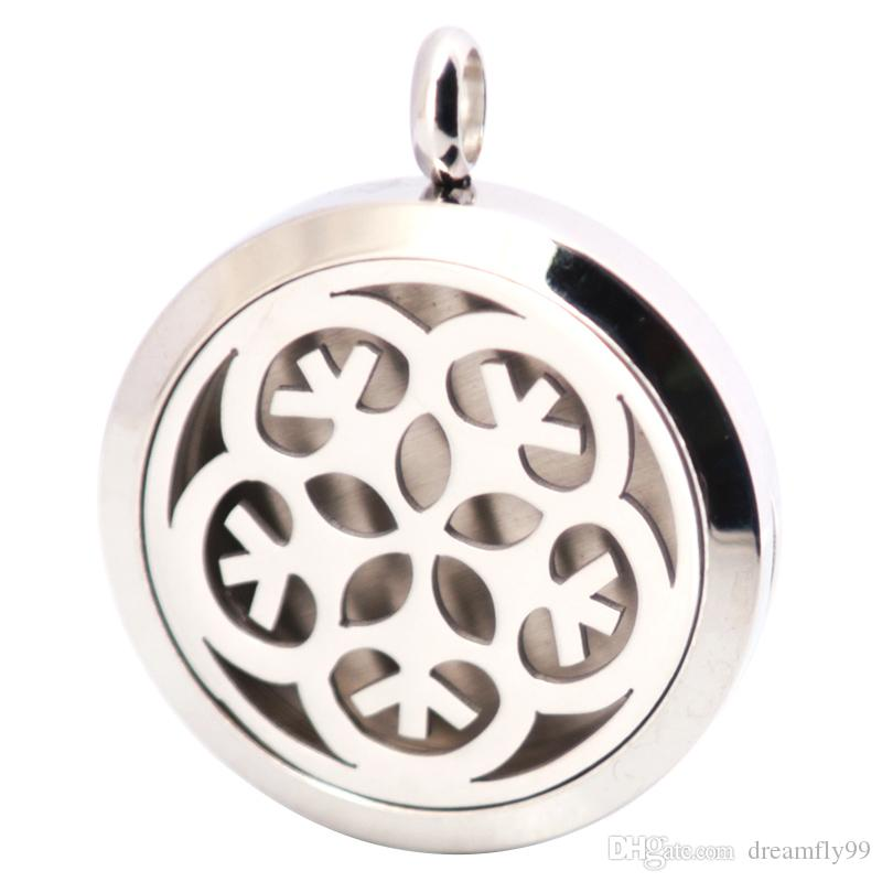 Silber Blume Aromatherapie ätherisches Öl chirurgischen Edelstahl Anhänger Neckalce Anhänger gehören Kette und Filzgleiter