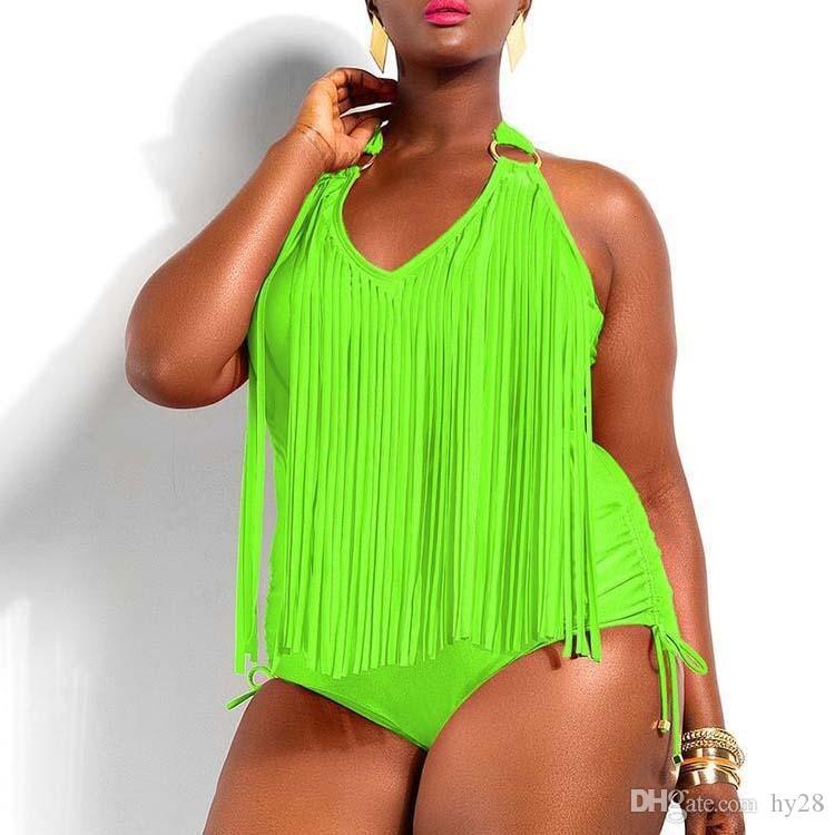 5f916a5cf2 2019 Plus Size One Piece Tassels Swimwear Sexy V Neck Women Swimsuit Padded  Boho Fringe Big Size Suit Beachwear Brazil Bikini Bathing Suit Wear From  Hy28, ...
