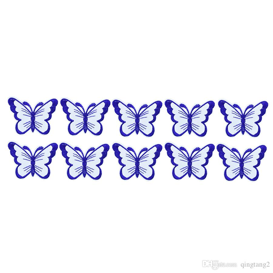 10pcs Double layer butterfly shape Embroidered Lace Applique decoration Clothing