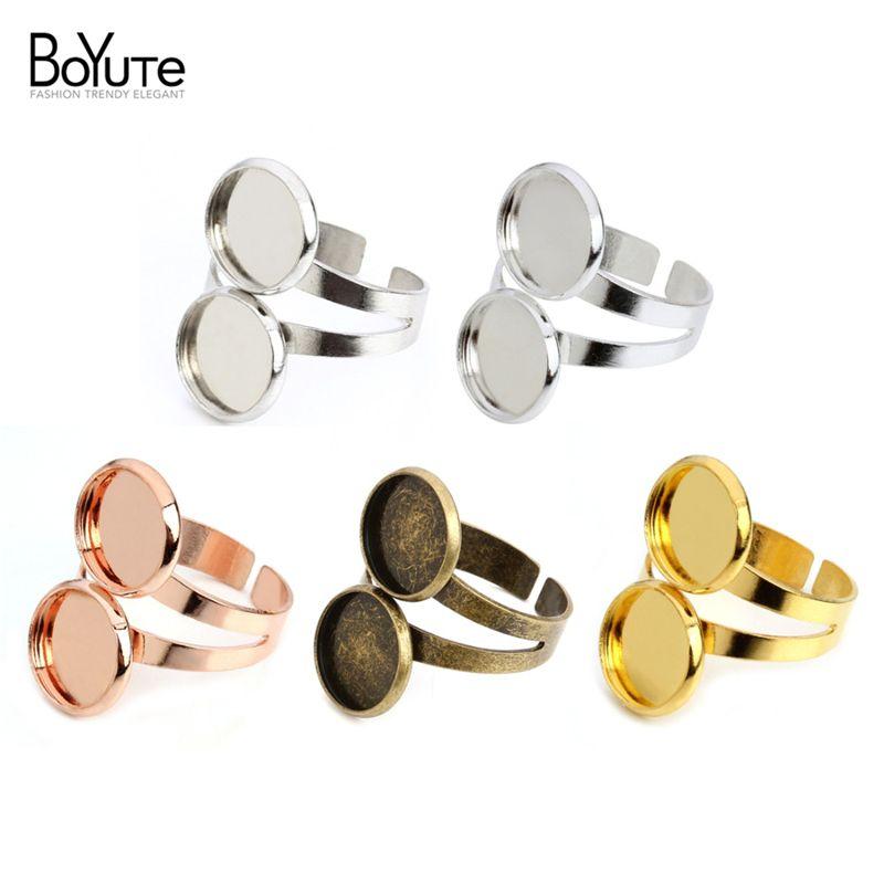 BoYuTe es 10MM 12MM Cabochon Base configuración de anillo de resultados de la joyería de la vendimia Componentes base ajustable anillo abierto