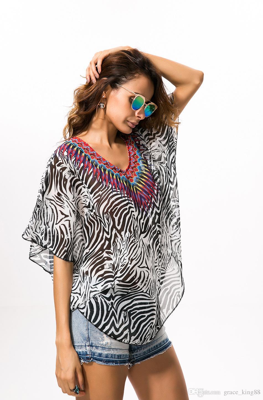 패션 여성의 얼룩말 줄무늬 인쇄 flouncing 박쥐 슬리브 쉬폰 블라우스 셔츠 여성 패션 느슨한 패션 블라우스 얼룩말 줄무늬 블라우스