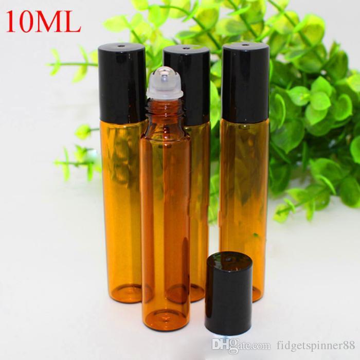 10ml Bernstein Brown Glas-wesentliches Öl-Flaschen Großhandel für Lippenbalsam Parfüm-Flaschen mit Edelstahl-Metallrollerball Rollerflaschen