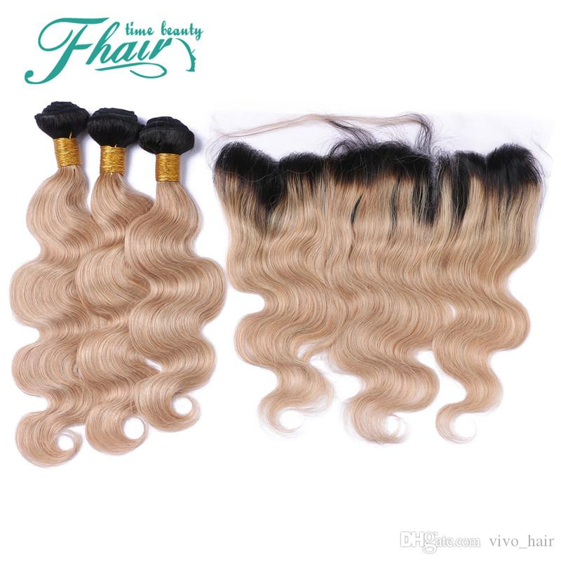 9A Ombre Hair Extensions #1b/27 Honey Blonde Ombre Human Hair With 13*4'' Lace Frontal Closure Two Tone Body Wave Hair Weaves