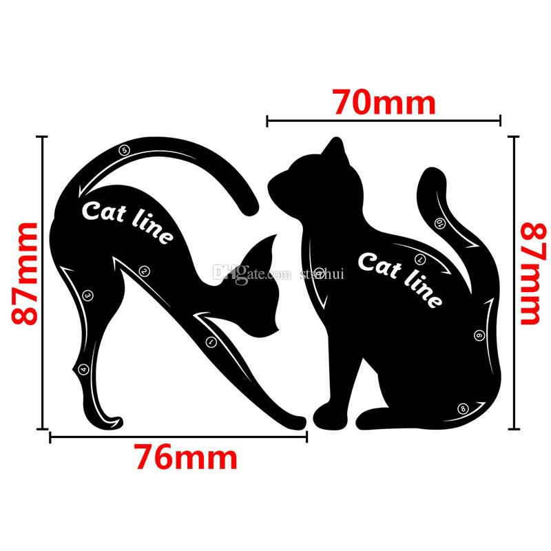 New 2 in 1 Cat Eyeliner Stencil Eye Cat Template Card makeup card easy makeup tips Plastic Tools Black In Stock WX-B08