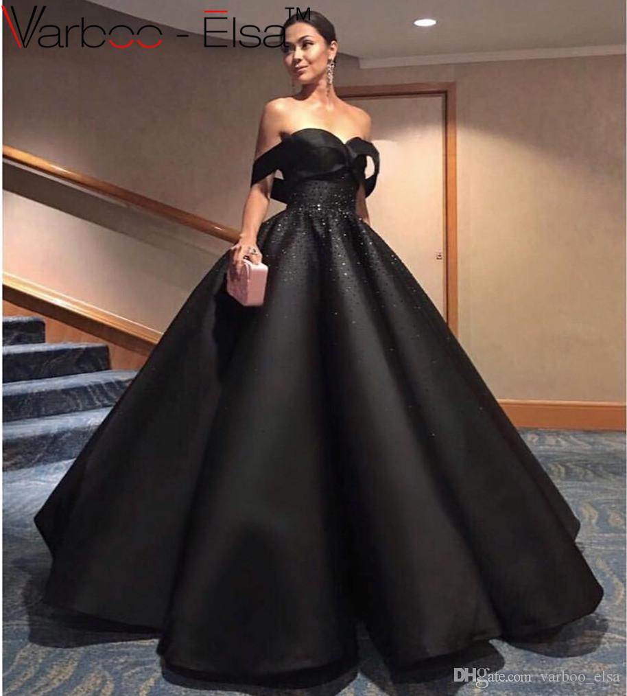 VARBOO_ELSA Elegant Black Ball Gown Sweetheart Neck Off Shoulder ...