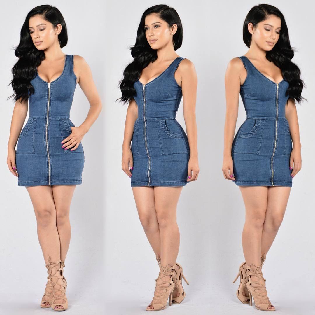 4a18f7e663 Compre 2017 Primavera New Mulheres Denim Dress Zipper Moda Sexy Magro  Vestidos Jeans Dividir Mangas Mini Bodycon Jeans Dress De Johnbob1994