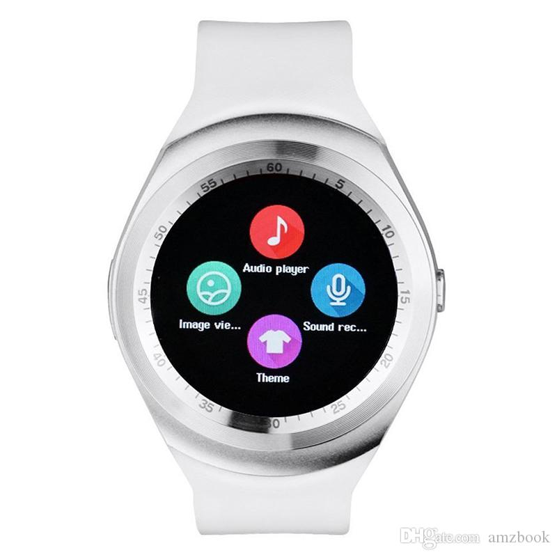 2017 New Hot Sell Y1 smart watches Latest Round Touch Screen Round Face Smartwatch Phone with SIM Card Slot smart watch for IOS Android