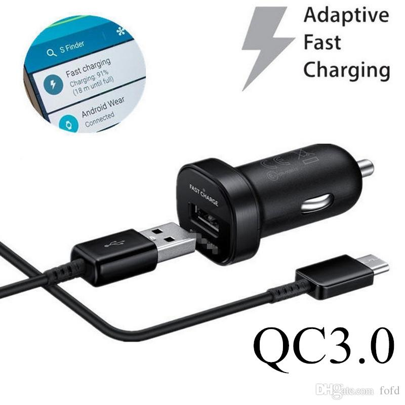 QC 30 Mini Samsung S8 Car Charger 5V 9V 2A Fast Charging Adapter EP LN930 Quick For Galaxy 7 6 12M Type C Cable Cell Phone
