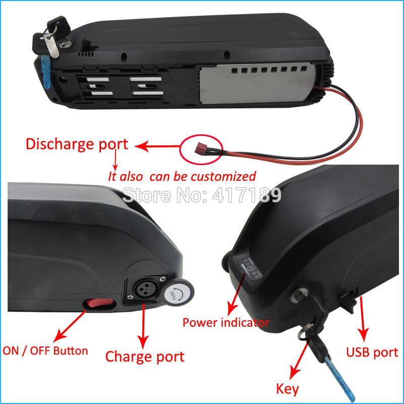 Uso eléctrico del paquete de batería de la batería 48v 15ah 18650 de la bicicleta 48V 750W para la célula de Samsung con el tablero y el cargador del puerto USB BMS
