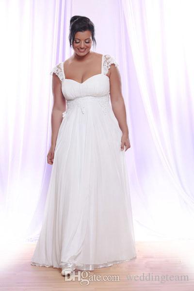 Lace branco Plus Size vestidos de casamento querida pescoço a linha barato Bohemian vestido de noiva até o chão Chiffon Beach vestidos de noiva