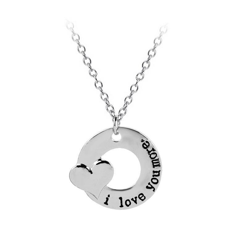 49b7f16b5172a Wholesale I Love You More Heart Necklace Circle Pendant Necklaces Lover  Jewelry For Women Men Valentine Gift DROP SHIP 161760 Silver Necklace Silver  ...