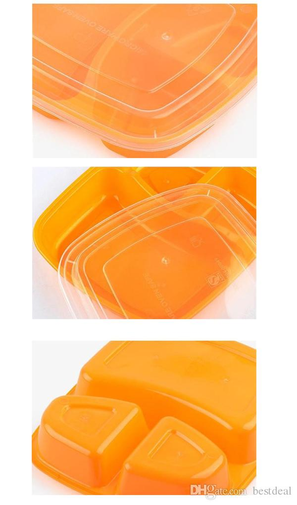 Caixa descartável da preparação da refeição com tampa 3 recipientes da preparação da refeição dos compartimentos Caixa durável 850ML da refeição do Microwavable do recipiente do armazenamento do alimento