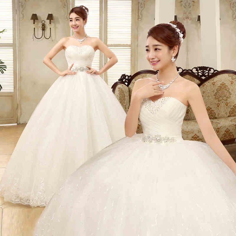 Discount 2017 new bride white sexy strapless gown wedding for Plus size wedding dresses size 32 and up