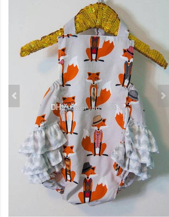 2017 INS лето детские Фокс ползунки жгут мультфильм цветы полоса комбинезоны дети восхождение одежда с оголовьем 4 стили C1817