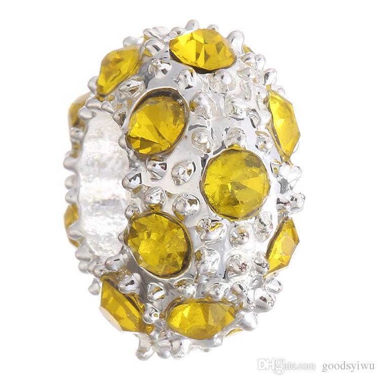 5 MM Vintage Gümüş Alaşım Gevşek Boncuk DIY Avrupa Big Hole kristal Spacer Boncuk Charm XZ62