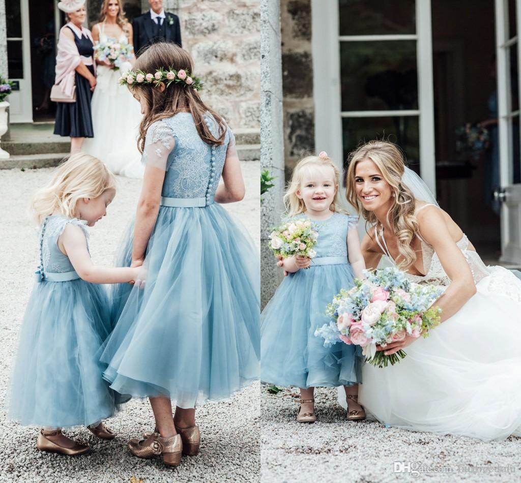 Baby Blue Flower Girl Dresses 2018 Lace Tulle Girls Kids Formal ...