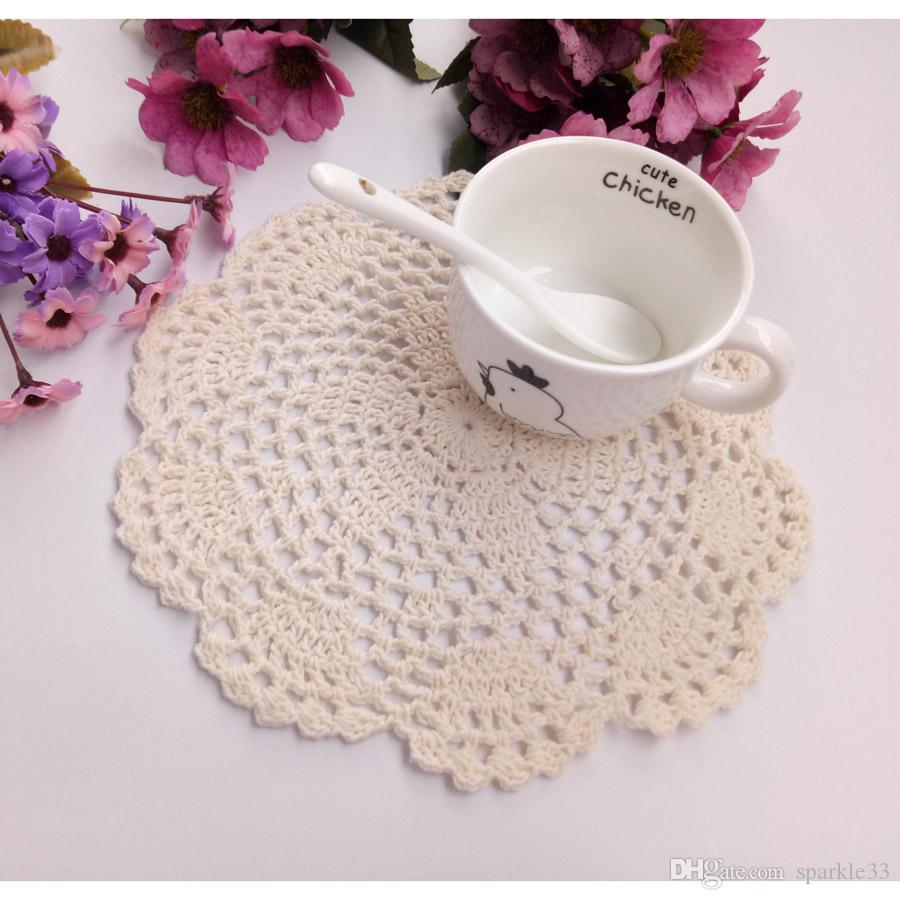 20cm round cotton crochet lace doilies fabric felt as innovative item for dinning table pad coasters mat