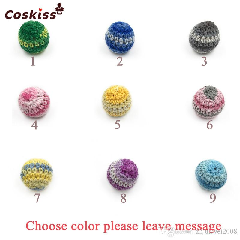Rainbow Crochet Beads 18mm0.71inch Handmade Crafts Wooden Crochet Beads For DIY Baby Teether Necklace