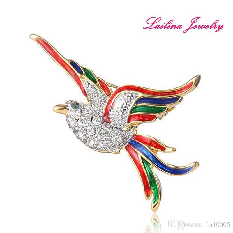 Gold-Tone Crystal Colorful Enamel Flying Bird Brooch Pins Clear Rhinestone Elegant Animal Fashion Brooches