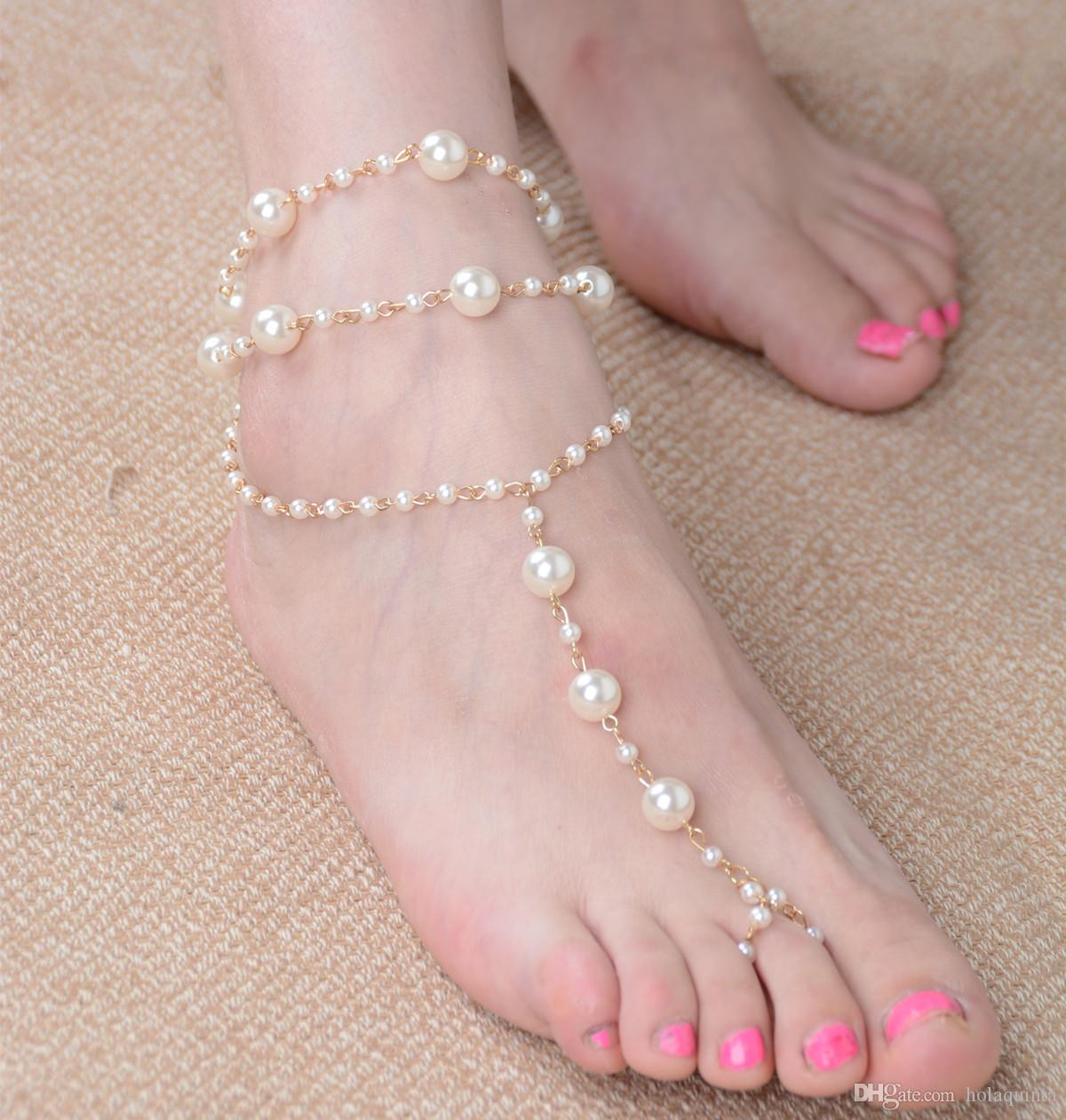 Chain Footless Bridal Foot Beach Wedding Simulated Pearl Barefoot Sandal Anklet Women Jewelry Female Anklets