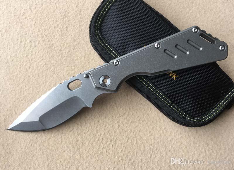Envío gratis nuevo Mick Strider Custom MSC XL Dragonspine cuchillo plegable S35VND2Blade textura de fuego Titanium manejar táctico herramientas de supervivencia EDC