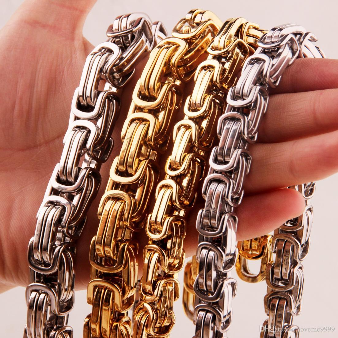 Высокое качество хип-хоп мужская нержавеющая сталь 316L плоский византийский звено цепи ожерелье рэппер коренастый высокое качество мода мальчики ювелирные изделия