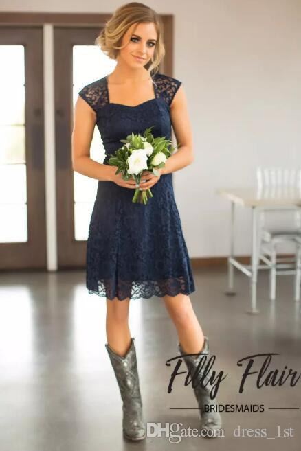 2019 Casual Navy Blue Lace Bridesmaids Dresses Short Cheap Portrait Cut Out Back Beach Knee Length Maid Of Honor Gown Custom Made EN7201