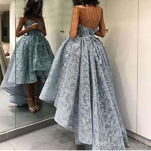Tozlu Mavi Yüksek Düşük Dantel Abiye Sevgiliye Boyun ile 2017 Aplike Örgün Kadın Elbise Akşam Giymek