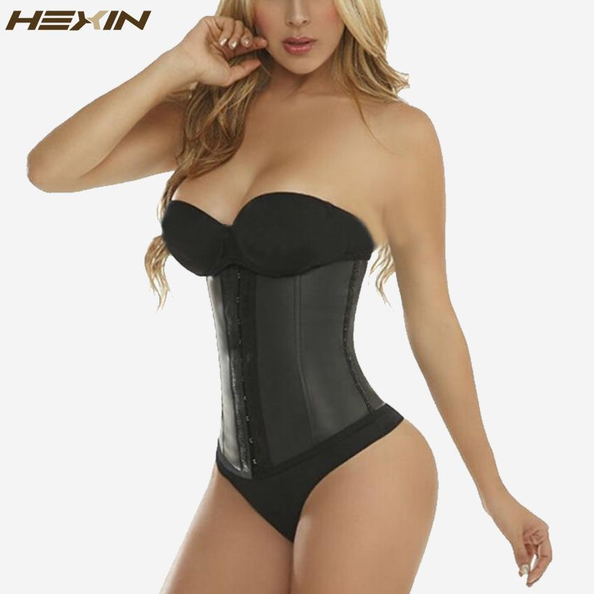 6d355a9810 Wholesale- HEXIN 9 Steel Bones 100% Latex Waist Trainer Corset Sexy Women Body  Shaper Waist Cincher Underbust Shapewear Slimming Belt 6XL Slimming Belt ...