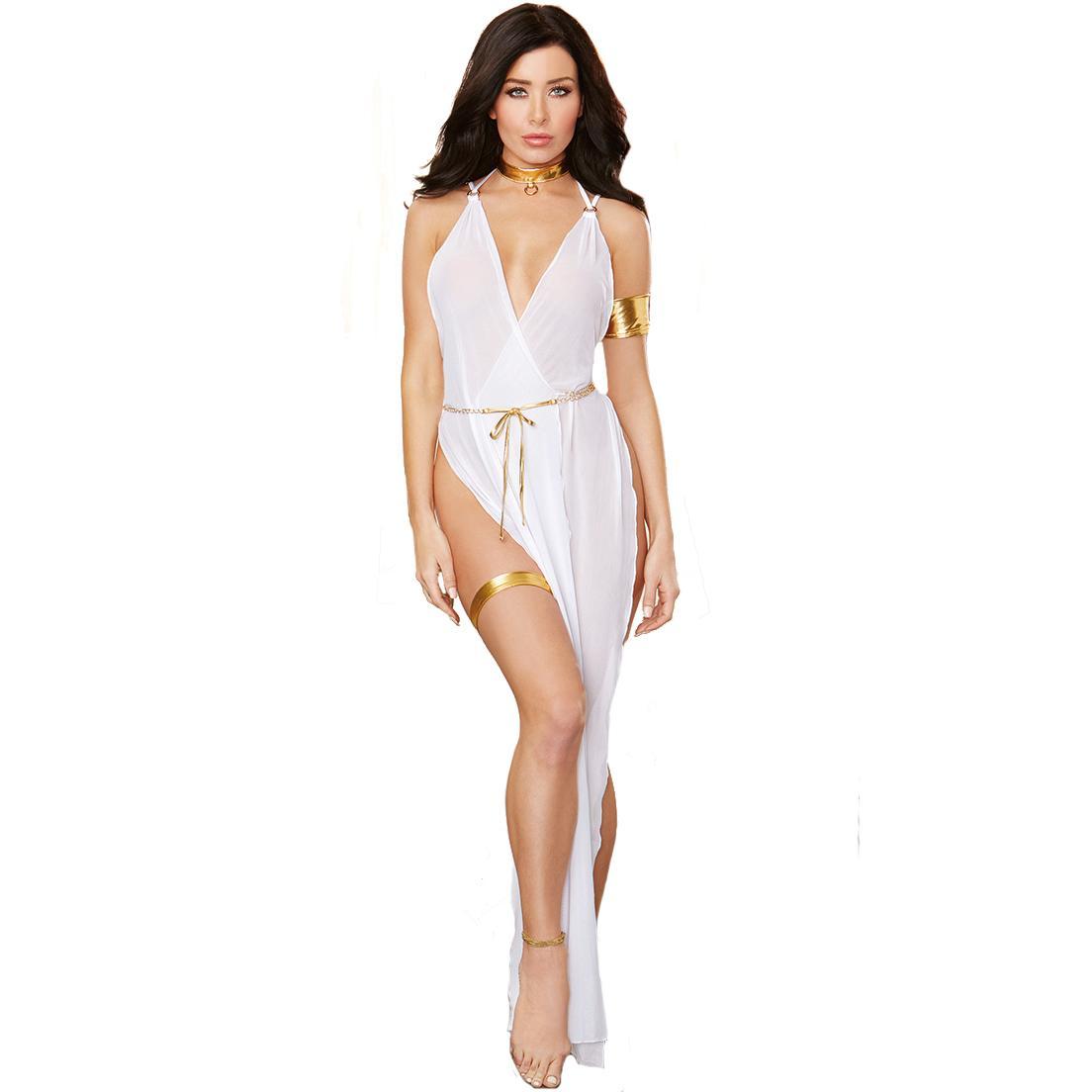 White Fantasias Eroticas Women Sleepwear Slit Side Deep V Sexy ...