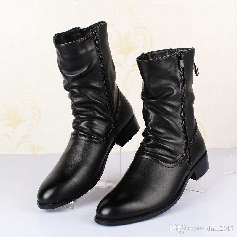 Кожаные сапоги весна осень британский стиль обуви квадратным каблуком вскользь ботинки 5 # 20 / 20D50