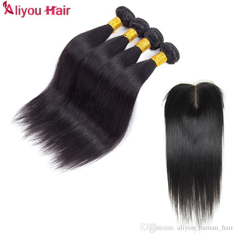 100% Straight Human Hair Lace Closure Brazilian Hair Lace Closure 8-20inch Straight Closure with 4 Bundles Natural Color With Bleached Knots